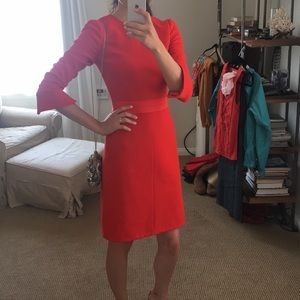 J.CREW Structured Red Wool 3/4 Sleeve Dress